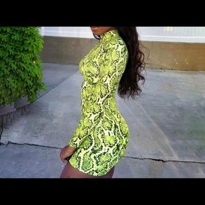 Lime green snake skin bodycon dress